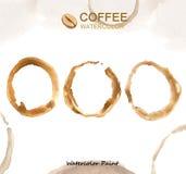 Elementos del café, alta resolución de la pintura de la acuarela Fotografía de archivo libre de regalías