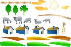 Elementos del campo y de la granja stock de ilustración