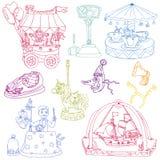 Elementos del circo del vintage - doodles drenados mano Foto de archivo