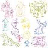 Elementos del circo del vintage - doodles drenados mano Fotos de archivo libres de regalías