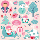 Elementos del clip art de la estación del invierno Fotografía de archivo libre de regalías