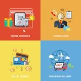 Elementos del comercio electrónico de las compras ilustración del vector