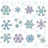 Elementos del copo de nieve del Doodle Fotos de archivo