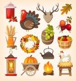 Elementos del día de la acción de gracias ilustración del vector