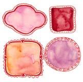 Elementos del día de tarjeta del día de San Valentín de la acuarela Imagen de archivo