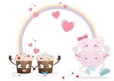 Elementos del día de tarjetas del día de San Valentín foto de archivo