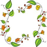 Elementos del diseño con las flores del garabato del dibujo lineal Imagenes de archivo