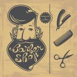 Elementos del diseño de Barber Shop stock de ilustración