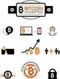 Elementos del diseño de Bitcoin Imágenes de archivo libres de regalías