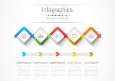 Elementos del diseño de Infographic para su negocio con 5 opciones stock de ilustración
