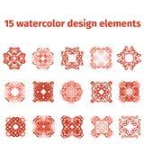 Elementos del diseño de la acuarela Imagenes de archivo