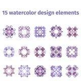 Elementos del diseño de la acuarela Foto de archivo libre de regalías