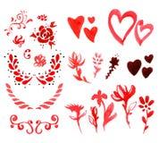 Elementos del diseño de la acuarela del día del ` s de la tarjeta del día de San Valentín Imagen de archivo