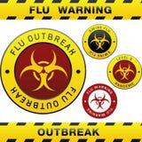 Elementos del diseño de la alerta del brote de la gripe de los cerdos Foto de archivo libre de regalías