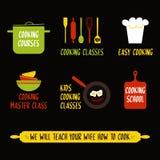Elementos del diseño de la clase de cocina, emblemas coloridos de la cocina, símbolos, iconos, etiquetas del estudio de la comida libre illustration