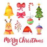 Elementos del diseño de la Feliz Navidad del vector de la acuarela Sistema tradicional dibujado mano del día de fiesta Ilustració libre illustration