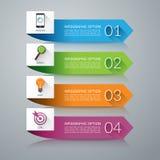Elementos del diseño de la flecha para el infographics concepto del negocio de 4 pasos Fondo del vector Imagen de archivo libre de regalías