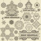 Elementos del diseño de la Navidad del vintage Foto de archivo libre de regalías