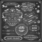 Elementos del diseño de la pizarra Imagen de archivo libre de regalías