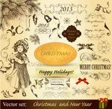 Elementos del diseño de la vendimia de la Navidad Fotos de archivo