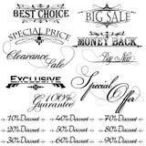 Elementos del diseño de la vendimia para el texto de la venta Imágenes de archivo libres de regalías