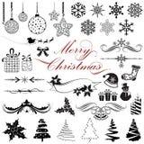Elementos del diseño de la vendimia para la Navidad Imagen de archivo