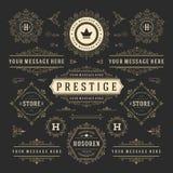 Elementos del diseño de las decoraciones de los ornamentos del vector del vintage Prospera el logotipo retro de las combinaciones stock de ilustración