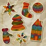 Elementos del diseño de las etiquetas engomadas de la Navidad Imágenes de archivo libres de regalías