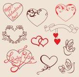Elementos del diseño de las tarjetas del día de San Valentín Imagen de archivo libre de regalías
