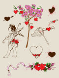 Elementos del diseño de las tarjetas del día de San Valentín Fotografía de archivo libre de regalías