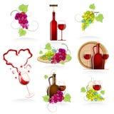 Elementos del diseño de los vinos del icono Imagen de archivo