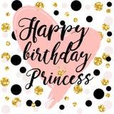 Elementos del diseño de tarjeta de cumpleaños para la pequeñas princesa, muchacha del encanto y mujer Ilustración del vector ilustración del vector