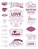 Elementos del diseño del amor Imágenes de archivo libres de regalías