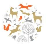 Elementos del diseño del bosque del invierno Foto de archivo