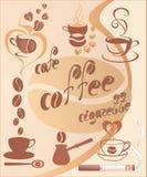 Elementos del diseño del café Fotografía de archivo