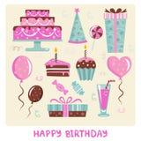 Elementos del diseño del cumpleaños Fotografía de archivo libre de regalías