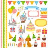 Elementos del diseño del cumpleaños Fotos de archivo libres de regalías