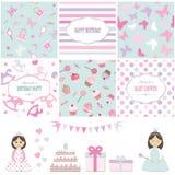 Elementos del diseño del cumpleaños y de la fiesta de bienvenida al bebé de la muchacha Imágenes de archivo libres de regalías