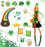 Elementos del diseño del día del St. Patrick Fotos de archivo libres de regalías