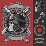 Elementos del diseño del emblema del motorista del vintage Imágenes de archivo libres de regalías