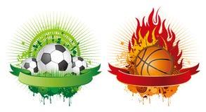 elementos del diseño del fútbol y del baloncesto Fotos de archivo libres de regalías