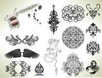 Elementos del diseño del flash del tatuaje Fotografía de archivo