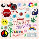 Elementos del diseño del Hippie Fotografía de archivo
