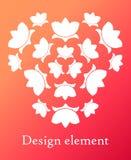 Elementos del diseño del lirio en un círculo Lirios blancos en un fondo de la pendiente Fotos de archivo