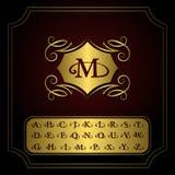 Elementos del diseño del monograma, letras inglesas Línea elegante diseño del logotipo del arte Emblema M del oro Muestra del neg Foto de archivo libre de regalías