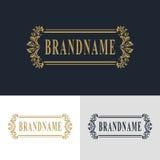 Elementos del diseño del monograma, plantilla agraciada Línea elegante caligráfica diseño del logotipo del arte Muestra del emble Foto de archivo libre de regalías