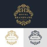 Elementos del diseño del monograma, plantilla agraciada Línea elegante caligráfica diseño del logotipo del arte Ponga letras a la Imagen de archivo libre de regalías