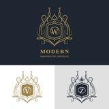 Elementos del diseño del monograma, plantilla agraciada Línea elegante caligráfica diseño del logotipo del arte Ponga letras a la stock de ilustración