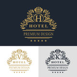 Elementos del diseño del monograma, plantilla agraciada Línea elegante caligráfica diseño del logotipo del arte Ponga letras al e Imagenes de archivo