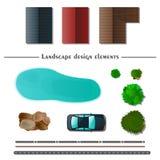 Elementos del diseño del paisaje ilustración del vector